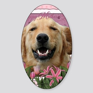PinkTulips_Golden_Retriever Sticker (Oval)
