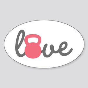 Love Kettlebell in Pink Sticker (Oval)
