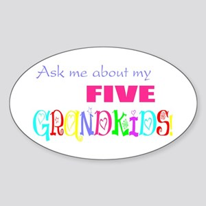 Five Grandkids Oval Sticker