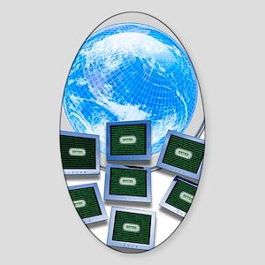 Computer hacking, conceptual artwor Sticker (Oval)