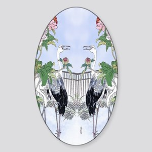 84 Dbl Curtains Crane Peony Floral  Sticker (Oval)