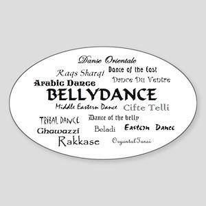 Names of Bellydance round Oval Sticker