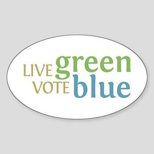 Live Green Vote Blue Oval Bumper Sticker
