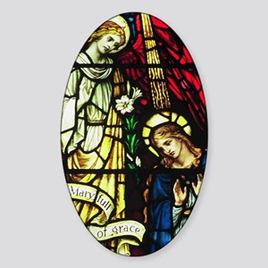 The Annunciation in Stained Glass Sticker (Oval)