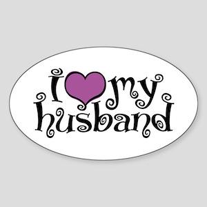 I Love My Husband Oval Sticker