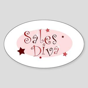 """Sales Diva"" [red] Oval Sticker"