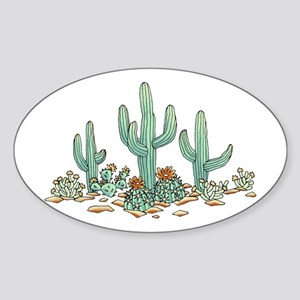 Cacti Garden Sticker (oval)