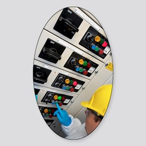 Engineer servicing air conditioning Sticker (Oval)