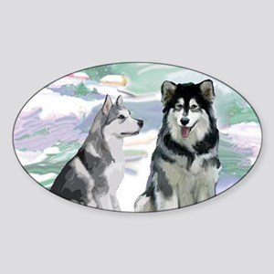 alaskan_malamute_fat quarter Sticker (Oval)