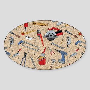 Work Tools on Wood Sticker (Oval)