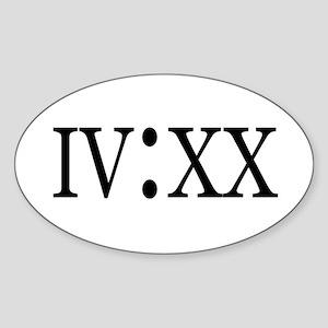 4:20 Roman Numerals Oval Sticker