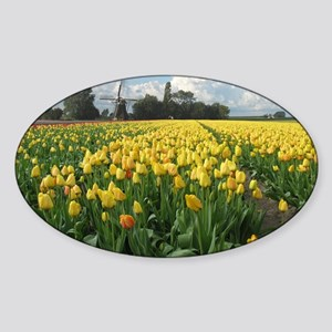 Dutch Windmill and Yellow Tulips Fi Sticker (Oval)