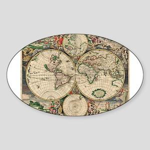 Antique World Map Sticker