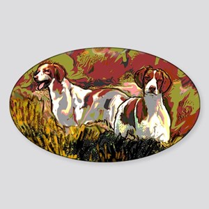 Brittany spaniels in the field Sticker (Oval)