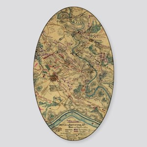 Vintage Antietam Battlefield Map (1 Sticker (Oval)