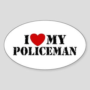 I Love My Policeman Oval Sticker