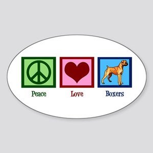 Peace Love Boxer Dog Sticker (Oval)