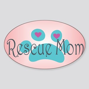 Rescue Mom with hearts and backgrou Sticker (Oval)