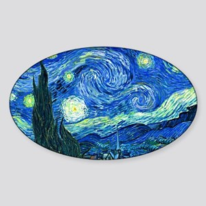van gogh starry night Sticker (Oval)
