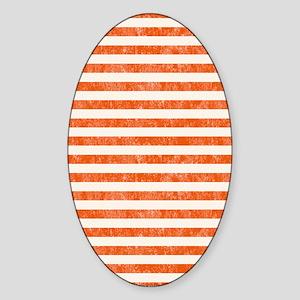 Vintage Orange and White Beach Stri Sticker (Oval)