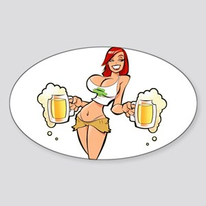 Beer redhead Sticker (Oval)