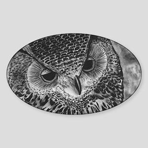 Sleepy Owl Sticker (Oval)
