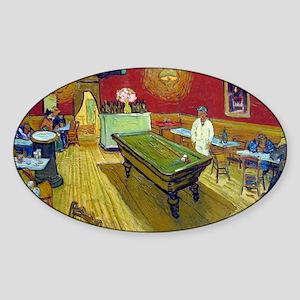 Vincent Van Gogh Night Cafe Sticker (Oval)