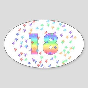 18th Birthday Pastel Stars Oval Sticker