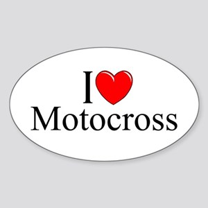 """I Love (Heart) Motocross"" Oval Sticker"