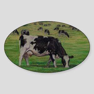 Holstein Milk Cow in Pasture Sticker (Oval)