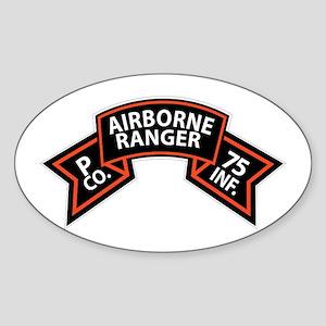 P Co 75th Infantry (Ranger) Scroll Sticker (Oval)