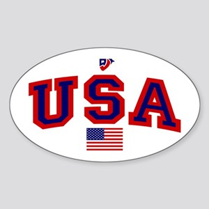 USA Flag Oval Sticker