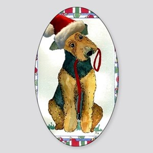 Airedale Terrier Dog Christmas Sticker (Oval)