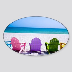 Lounge Chairs On Beach Sticker
