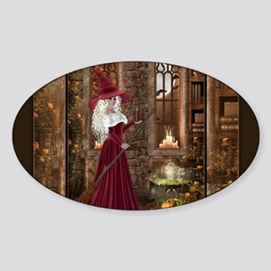 Witch with Candle Sticker (Oval)