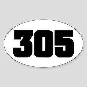 305 Black Slab Style Oval Sticker