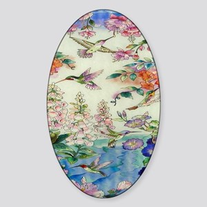 HUMMINGBIRD_STAINED_GLASS_8 BY 10 Sticker (Oval)