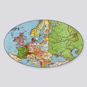 Map of Europe Sticker (Oval)