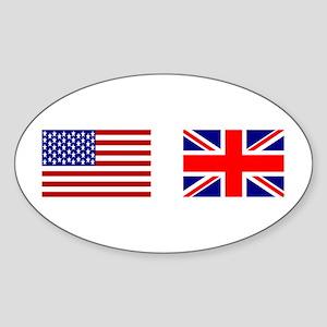 USA & Union Jack Oval Sticker