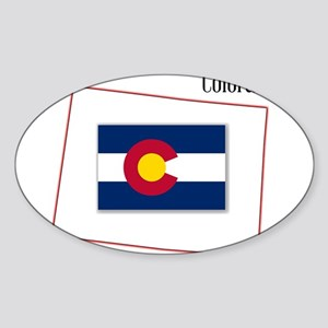 Colorado State Map and Flag Sticker