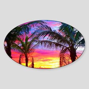 Captiva Island Sunset Palm Tree Sticker (Oval)