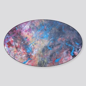 Abstract Expressions Rainbow Art Sticker (Oval)