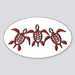 Trible Turtles Sticker (Oval)