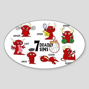 7deadlysinsvolleyball Sticker (Oval)