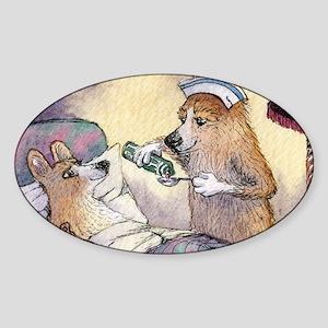 Corgi Nightingale nurse dog Sticker (Oval)