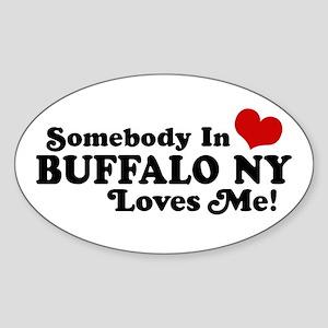 Somebody In Buffalo NY Loves Me Oval Sticker