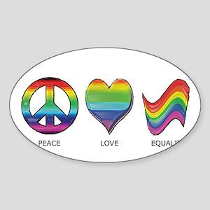 Peace Love Equality Sticker (Oval)