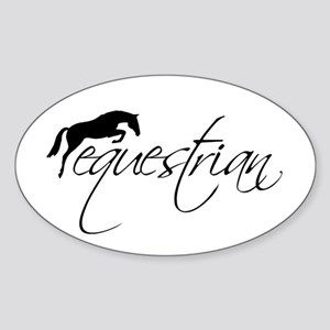 Equestrian w/ Jumping Horse Sticker (Oval)