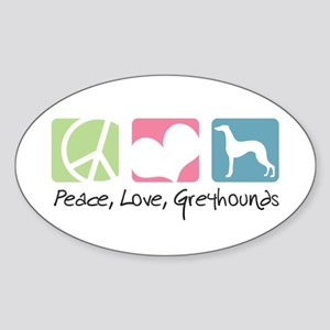 Peace, Love, Greyhounds Sticker (Oval)