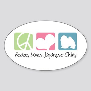Peace, Love, Japanese Chins Sticker (Oval)